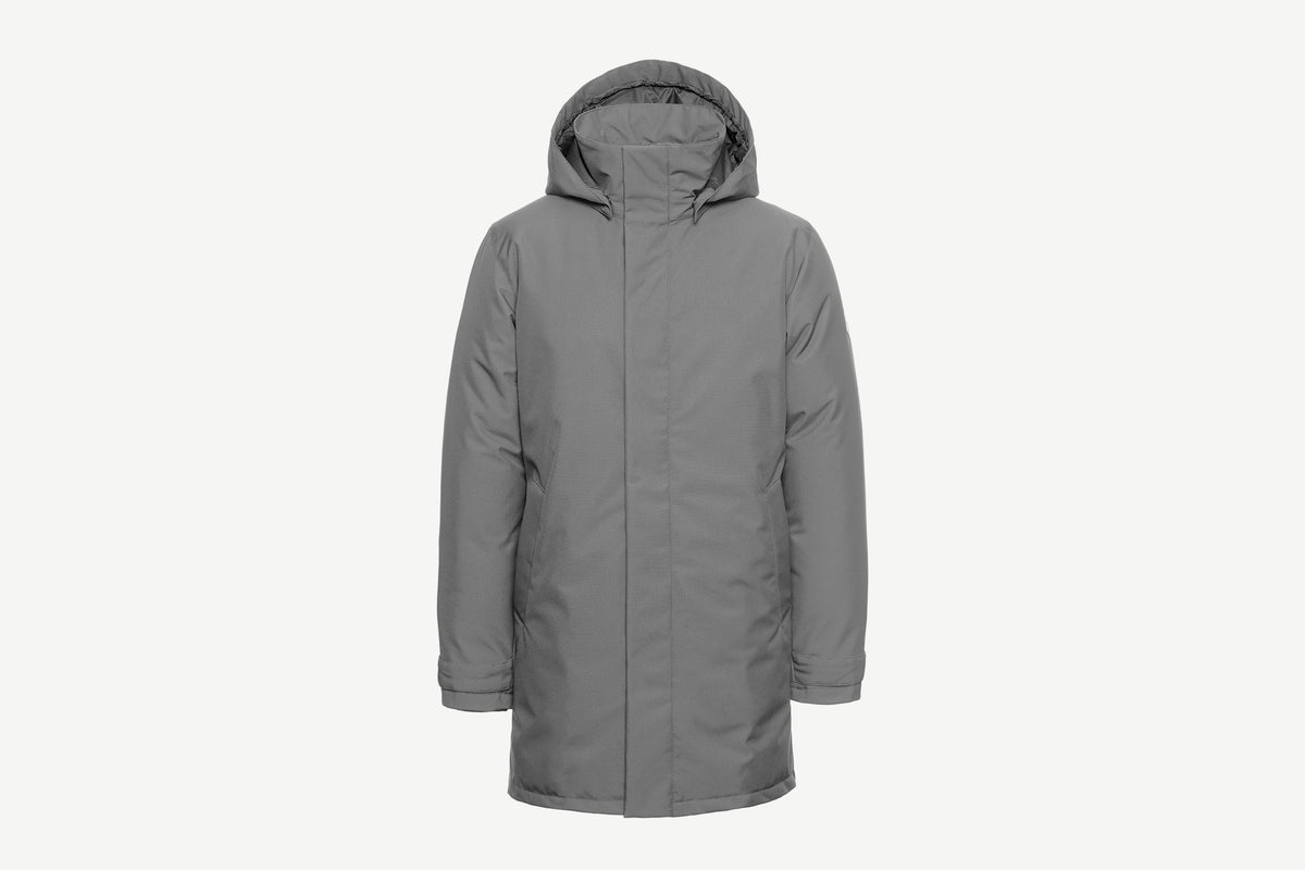 Quartz Co. winter jackets Made in Canada, Alban jacket in grey