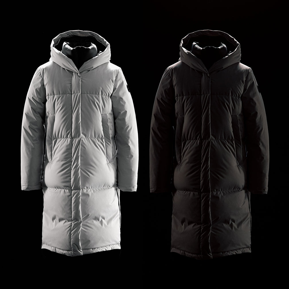 Quartz Co. winter jackets Made in Canada, Elsa jacket in light grey and black in collaboration with Altitude Sports