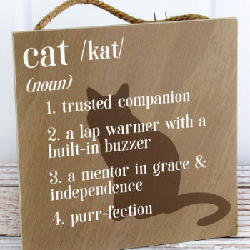 Cat Definition Wall Wood SIgn
