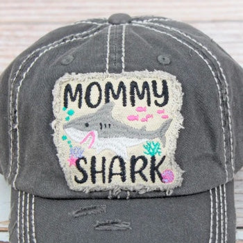 Distressed Steel Gray 'Mommy Shark' Cap