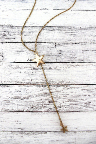 Gold Lariat Star Necklace