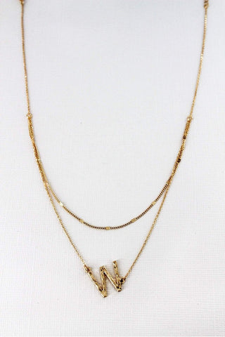 Crave layered goldtone initial necklace