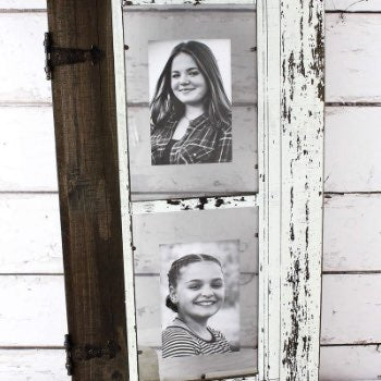 Distressed White Wood Barn Door Double Photo Frame