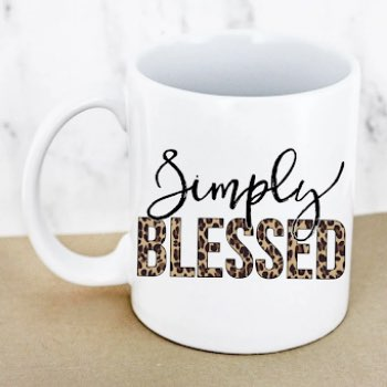 Simply Blessed Leopard White Mug