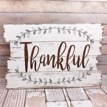 15.75 x 23.5 'Thankful' White Wall Sign