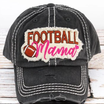 Distressed Black Football Mama Cap