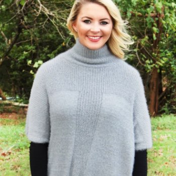 Catch Your Eye Knit Turtleneck Poncho, Gray