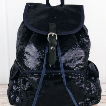 Ngil Navy and Silver Mermaid Sequin Drawstring Backpack