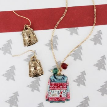 Ugly Christmas Sweater Necklace and Earring Set
