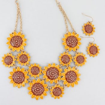 Sunflower bib necklace and earring set
