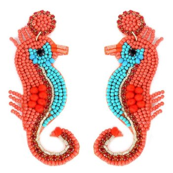 Bejeweled coral and turquoise seed bead seahorse earrings