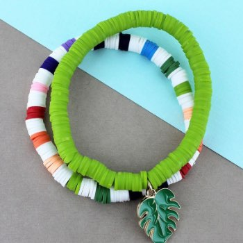 Palm leaf charm lime and rainbow stripe vinyl disk bracelet set