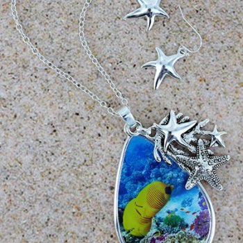 Starfish under the sea teardrop necklace and earring set