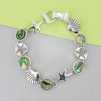 Silvertone Sealife and Abalone Disk Magnetic Bracelet
