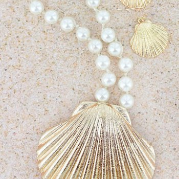 Goldtone clamshell pendant pearl necklace and earring set