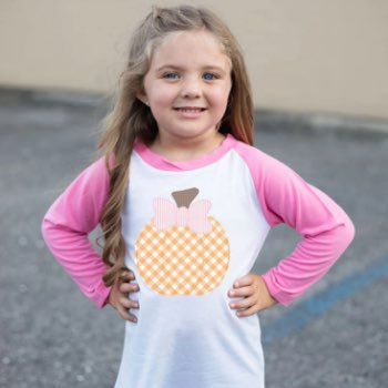 Gingham pumpkin toddler fall tee