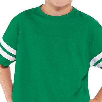 Personalizable green youth jersey varsity tee