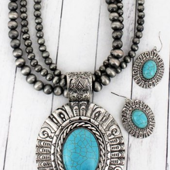 Silvertone and Turquoise Medallion Navajo Pearl Necklace and Earring Set