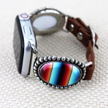 Serape Oval Faux Leather Adjustable Band for Apple Watch