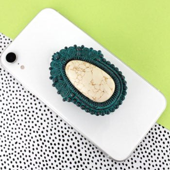 Patina and White Stone Western Phone Grip & Stand