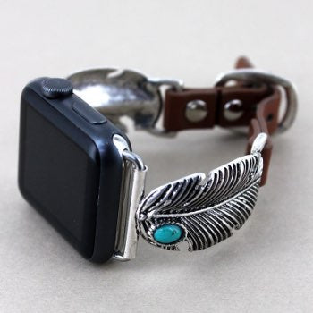 Feather Faux Leather Adjustable Watch Band