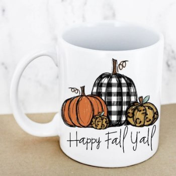 Plaid Happy Fall Y'all White Coffee Mug