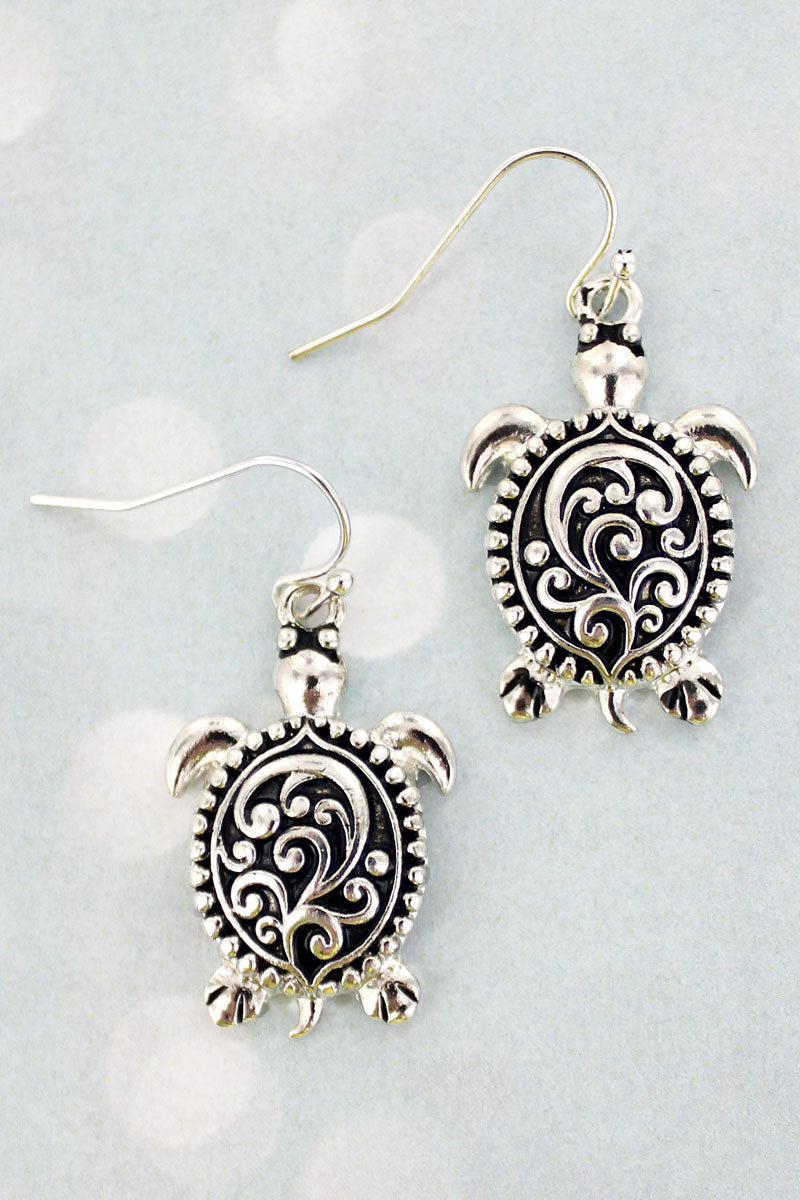 Vine Textured Silvertone Turtle Earrings