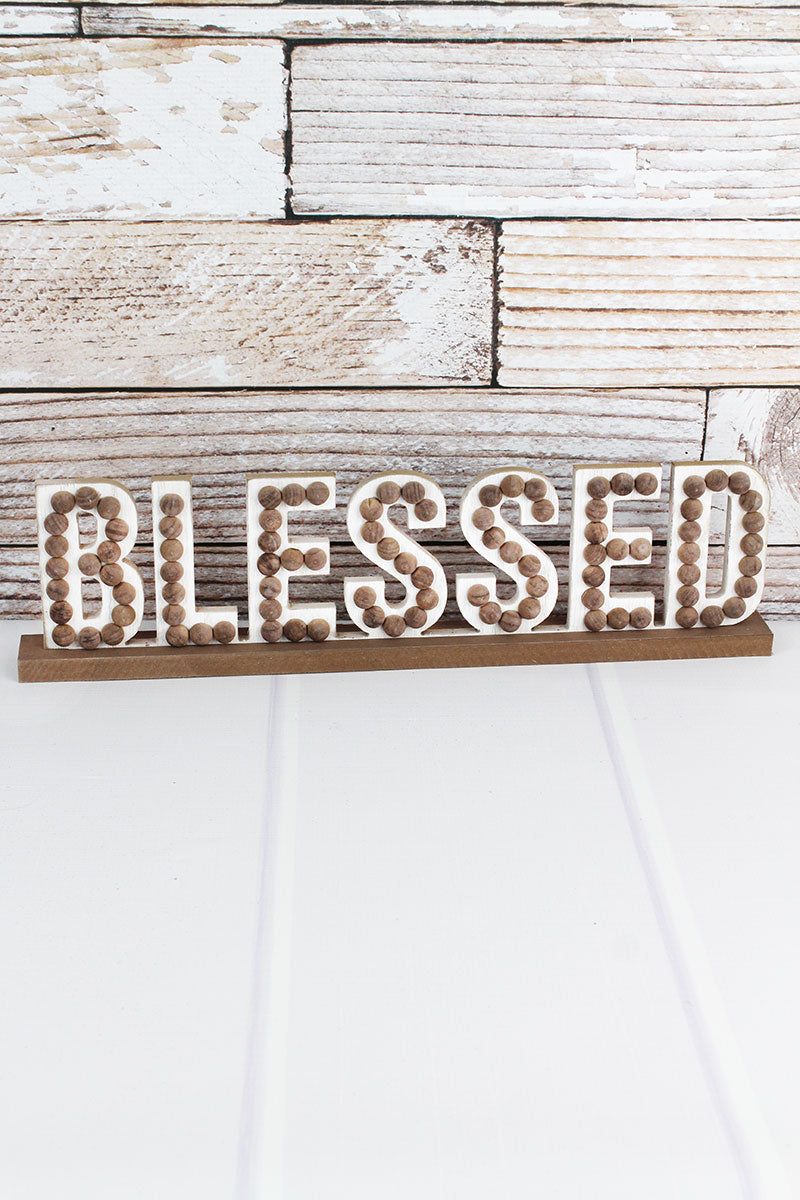 5 x 19 Wood Beaded 'Blessed' Tabletop Decor