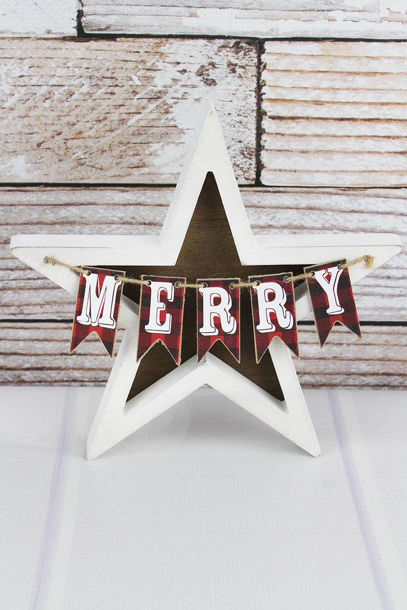 10.25 x 10.25 'Merry' Plaid Pennant Wood and Metal Christmas Star
