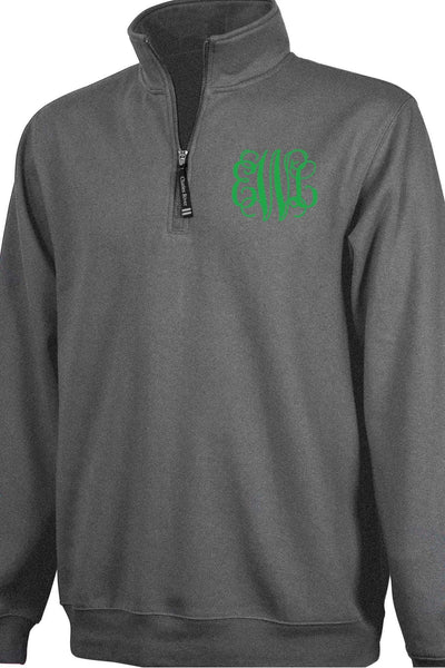 Charles River Quarter Zip Sweatshirt (Men's Cut), Dark Charcoal Heather #9359 *Personalize It! (Wholesale Pricing N/A.. PLEASE ALLOW 3-5 BUSINESS DAYS.. EXPEDITED SHIPPING N/A) - Wholesale Accessory Market