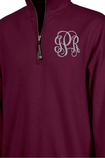 Charles River Quarter Zip Sweatshirt (Men's Cut), Maroon *Personalize It! (Wholesale Pricing N/A)