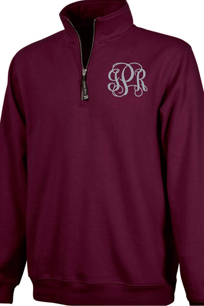 Charles River Quarter Zip Sweatshirt (Men's Cut), Maroon #9359 *Personalize It! (Wholesale Pricing N/A.. PLEASE ALLOW 3-5 BUSINESS DAYS.. EXPEDITED SHIPPING N/A) - Wholesale Accessory Market