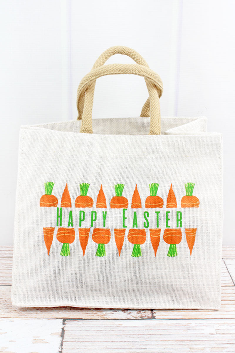 Happy Easter Carrot Small Jute Gift Tote