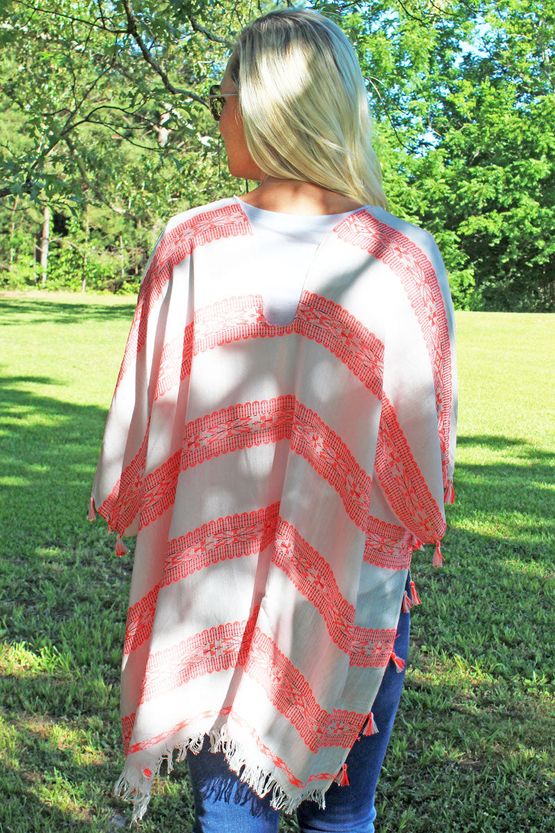 Aztec Inspiration Poncho, Hot Pink