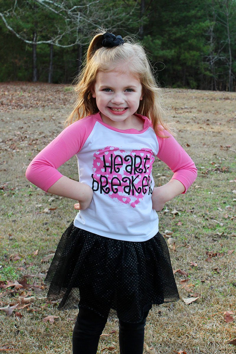 Heart Breaker Pink Kid's 3/4 Sleeve Raglan Tee