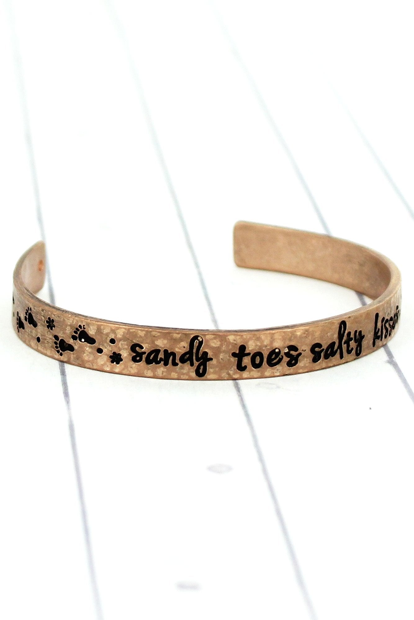 Worn Rose Goldtone 'Sandy Toes Salty Kisses' Cuff