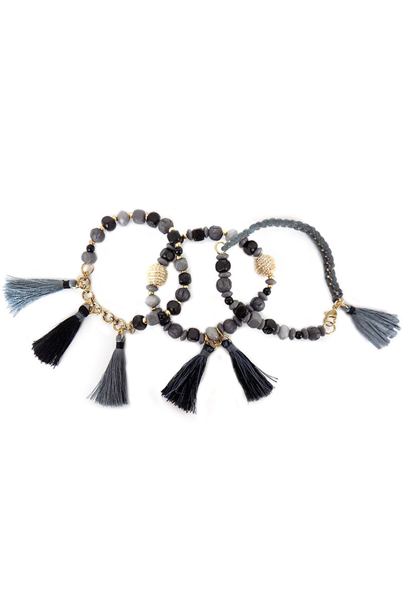 Gray Tones Raffia and Thread Tassel Mixed Bead Bracelet Set
