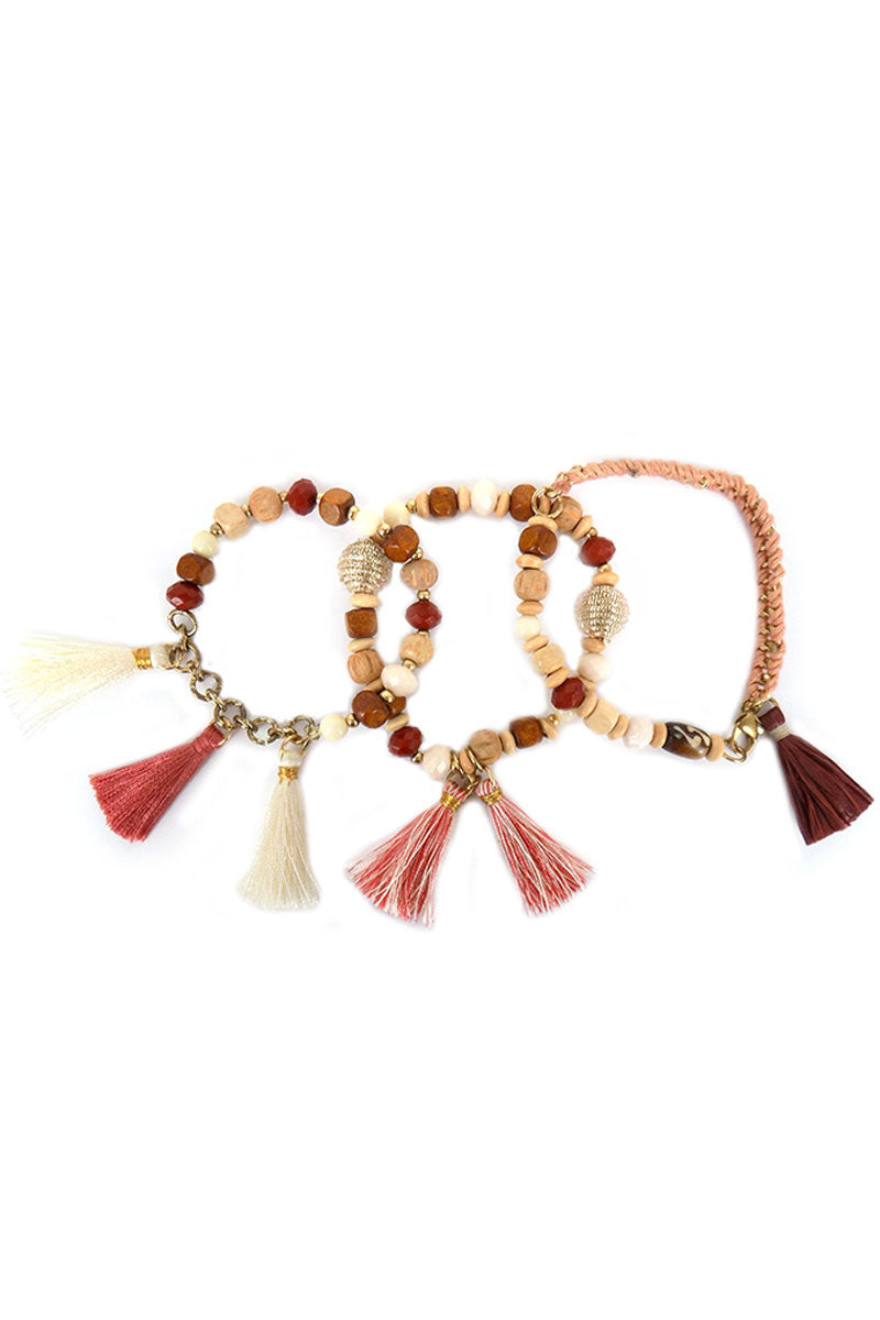 Neutral Tones Raffia and Thread Tassel Mixed Bead Bracelet Set