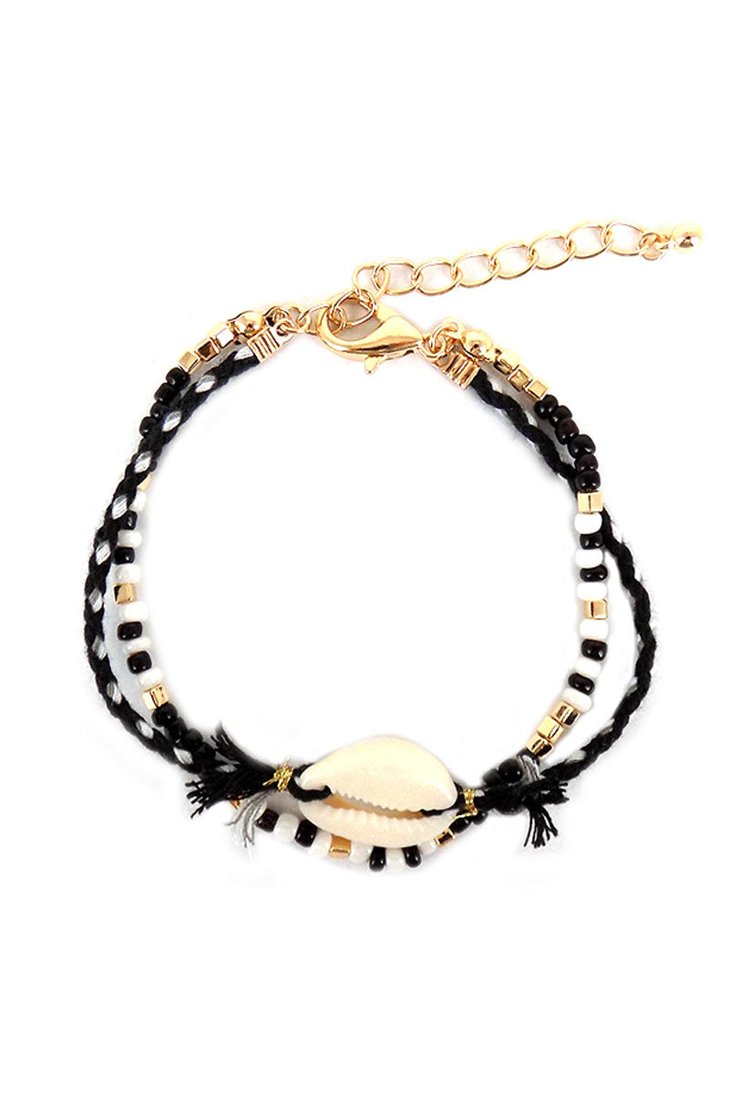 Black Beaded Cowrie Shell Double Strand Bracelet