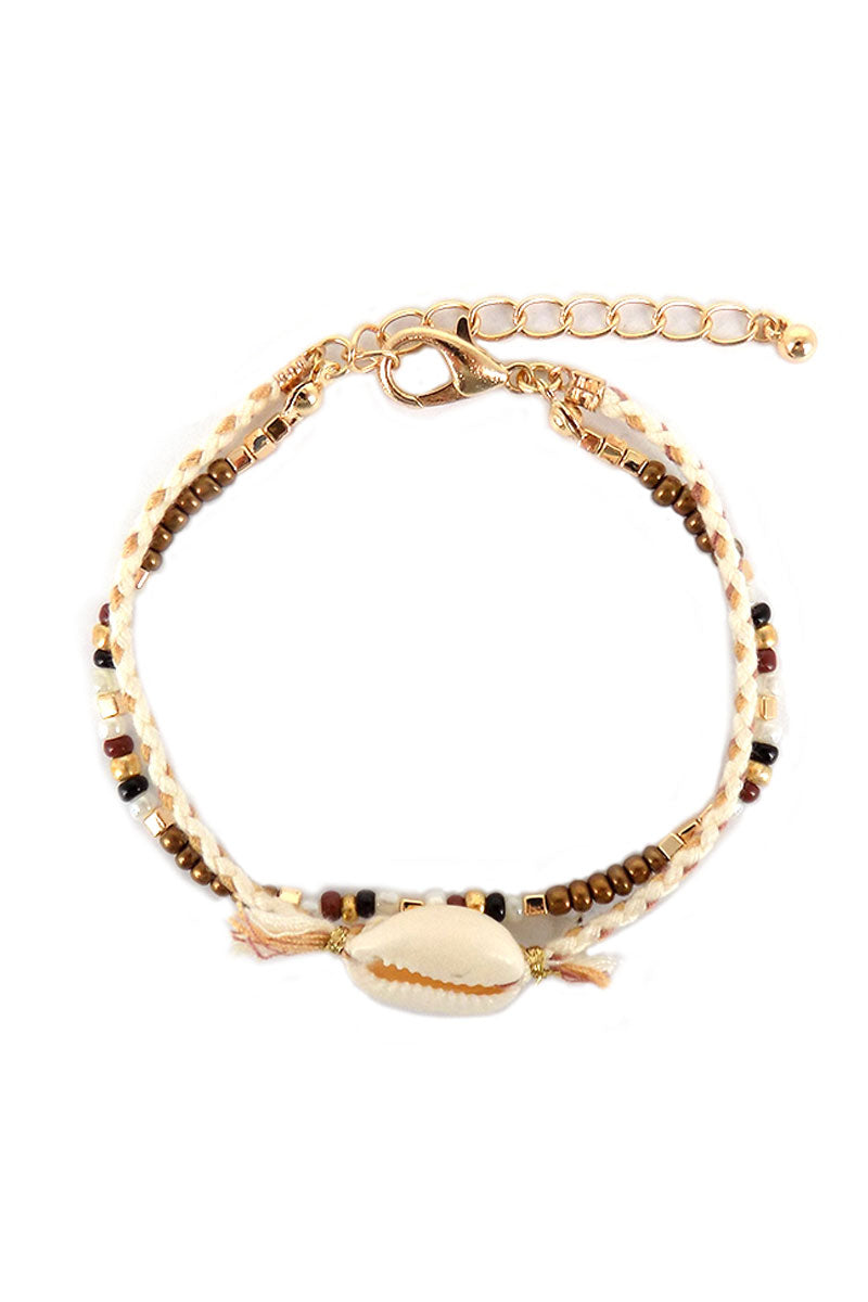 Natural Beaded Cowrie Shell Double Strand Bracelet