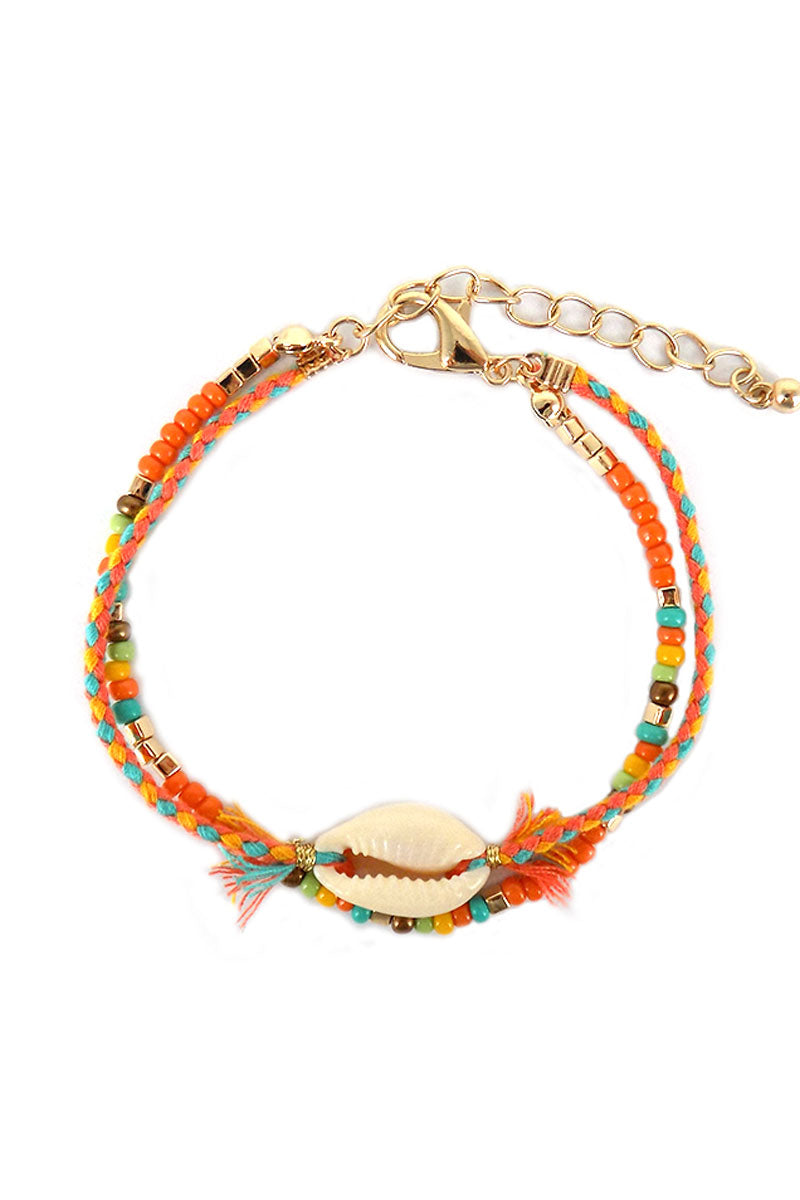 Orange Beaded Cowrie Shell Double Strand Bracelet