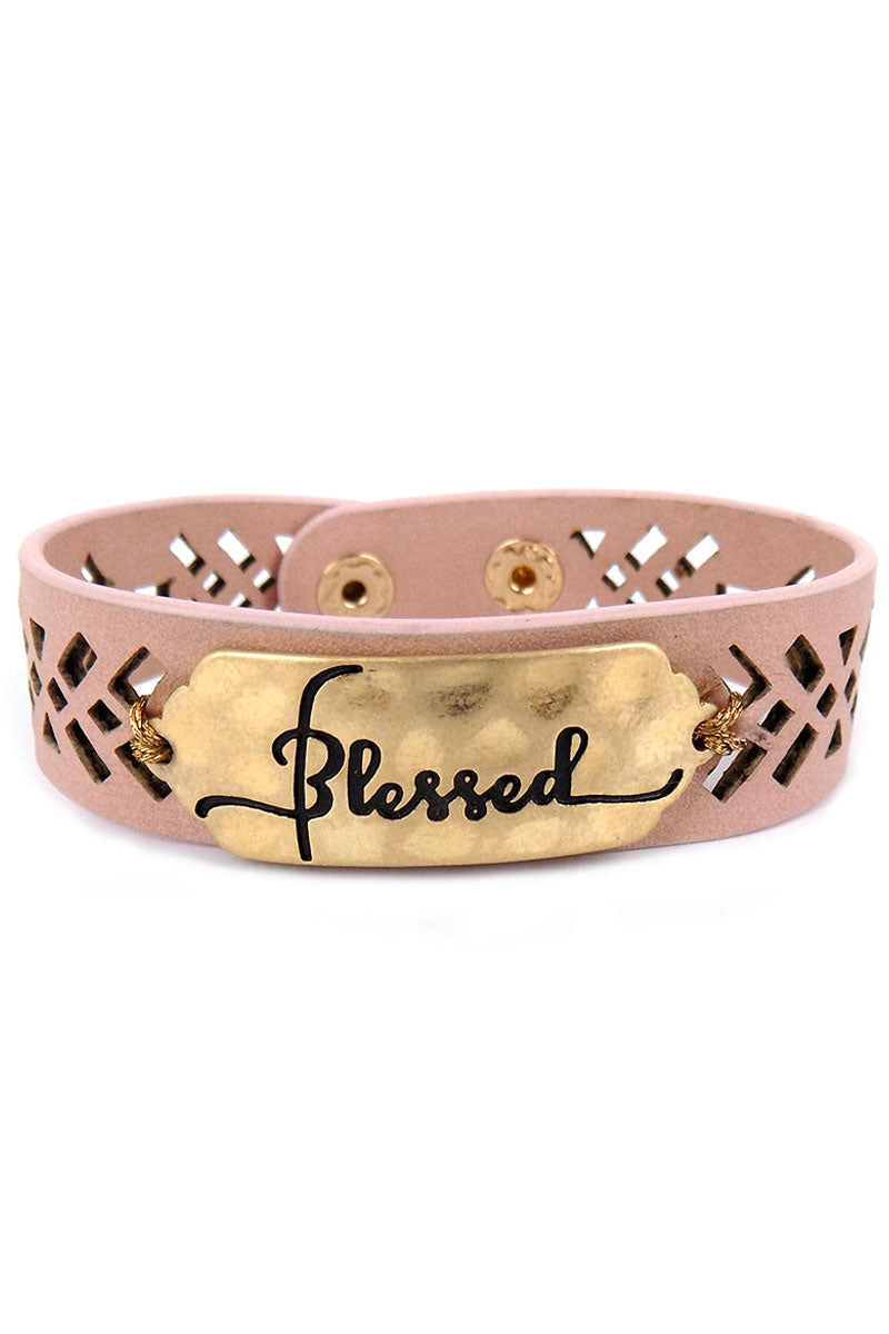 Goldtone 'Blessed' Perforated Pink Faux Leather Cuff Bracelet