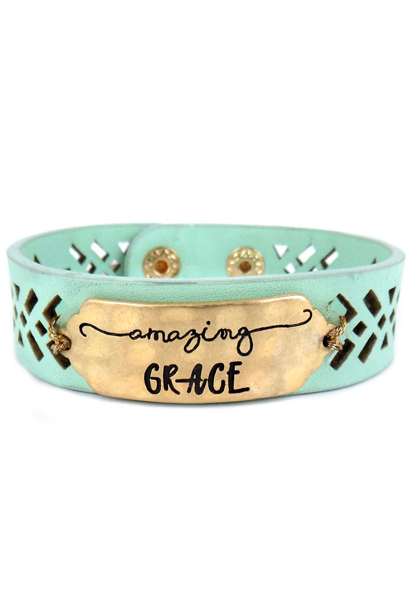 Goldtone 'Amazing Grace' Perforated Mint Faux Leather Cuff Bracelet