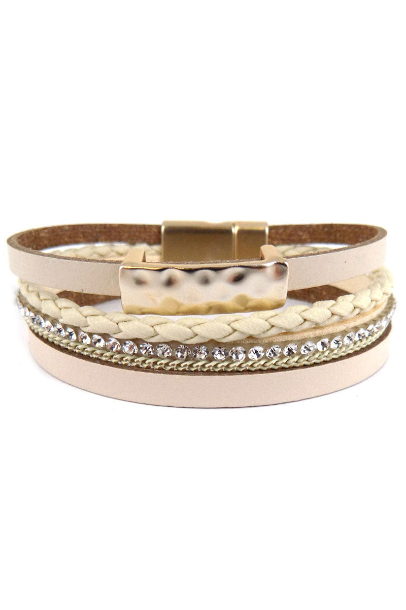 Ivory Hammered Goldtone Bar Multi-Strand Magnetic Bracelet