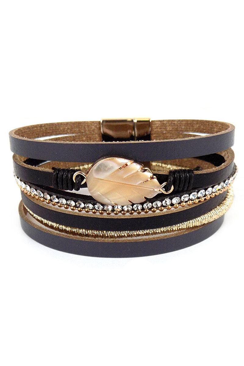 Shell Leaf Black and Gold Multi-Strand Magnetic Bracelet