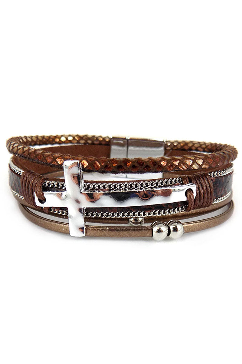 Silvertone Cross Brown Snakeskin Multi-Strand Magnetic Bracelet