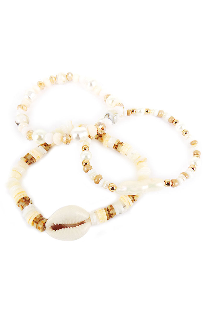 Ivory Beaded Cowrie Shell Bracelet Set