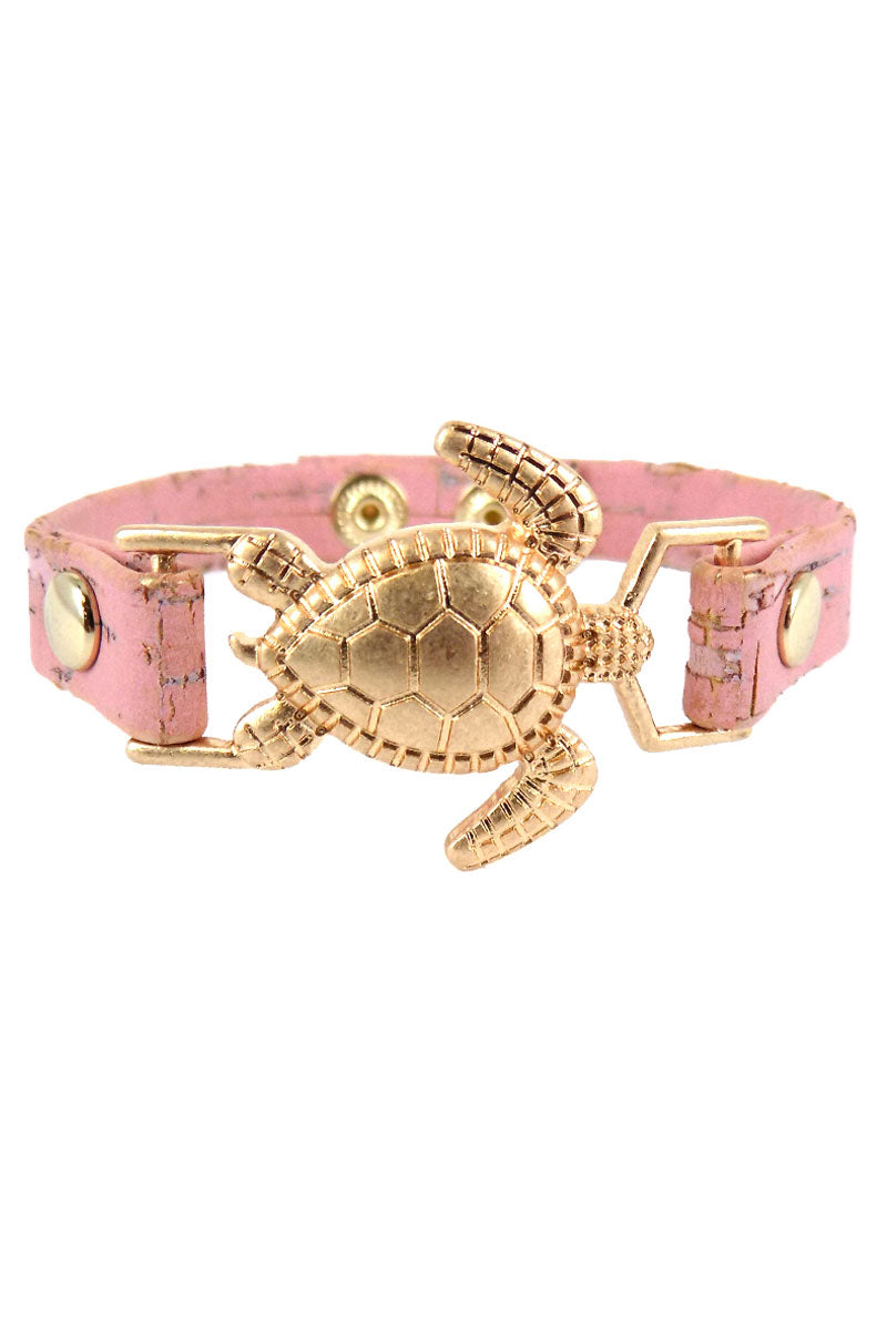 Sea Turtle Pink Distressed Cork Bracelet