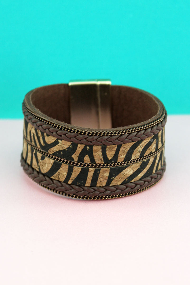 Tiger Cork and Braided Faux Leather Magnetic Bracelet