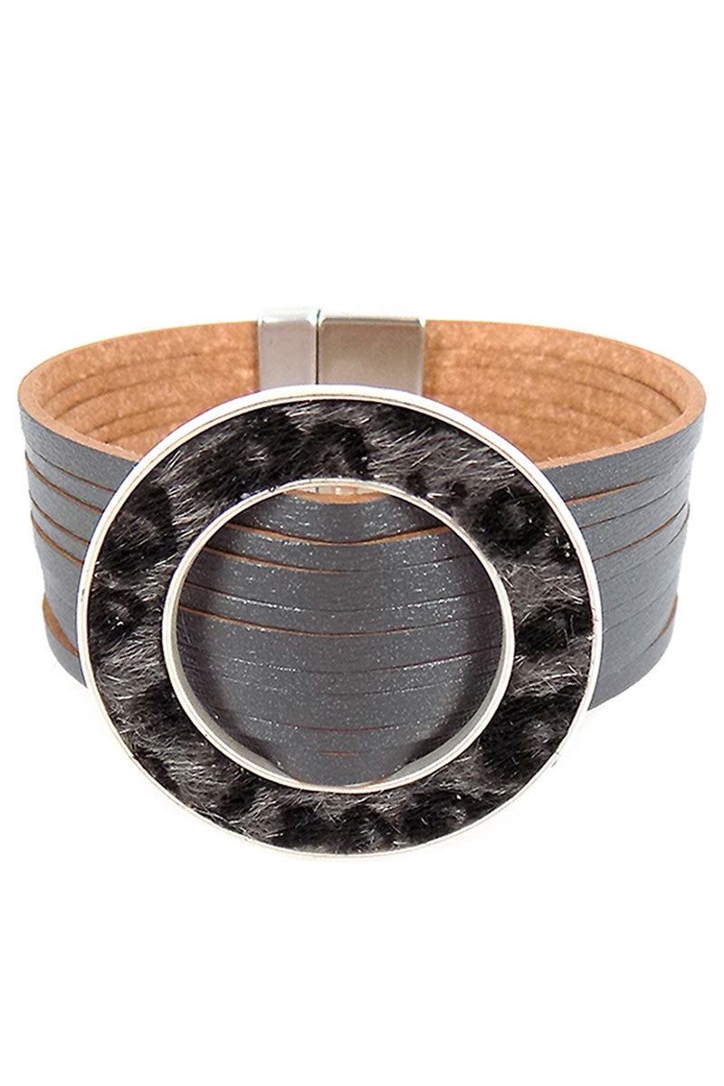 Gray Faux Leather Gray Leopard Ring Multi-Strand Magnetic Bracelet